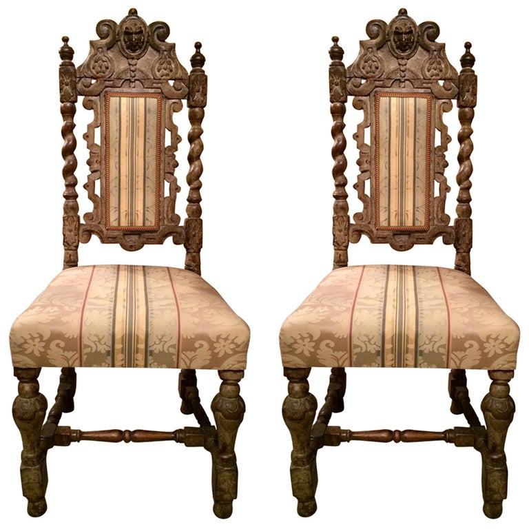 Pair 17th Century English Hall Chairs For Sale