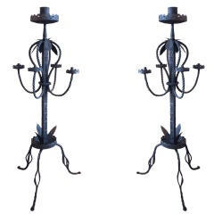 Pair of Italian Baroque Wrought Iron Torcheres