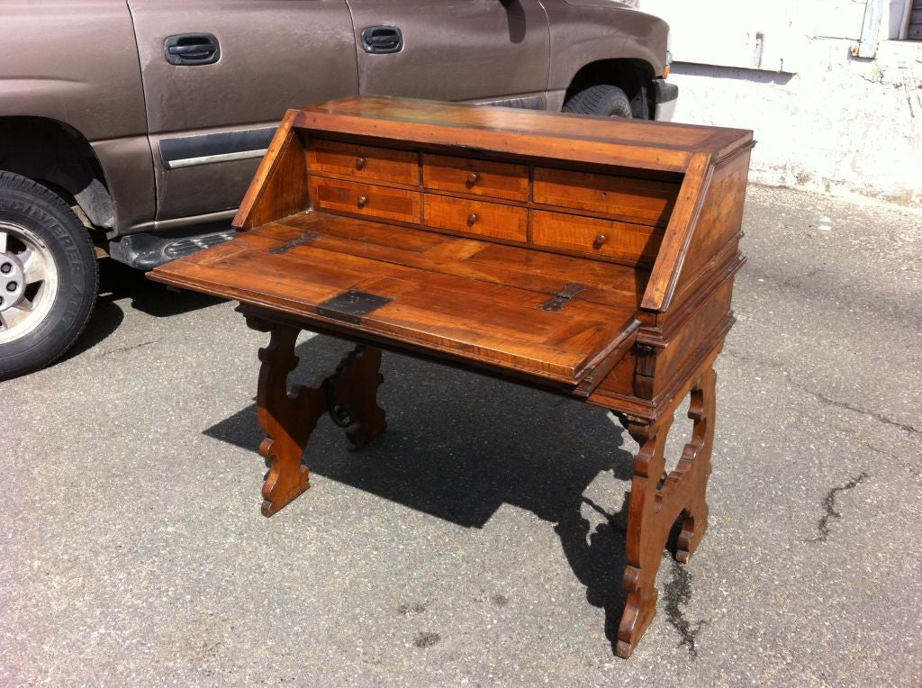 18th Century and Earlier  Italian Baroque Walnut Fall Front Desk For Sale