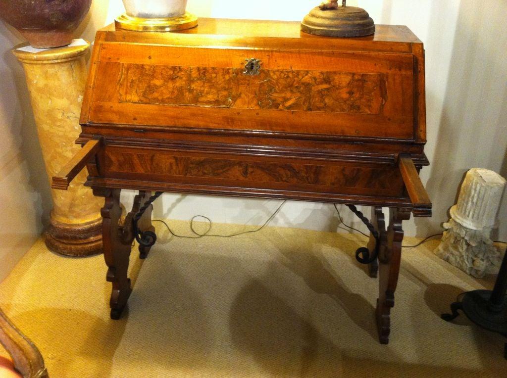 Italian Baroque Walnut Fall Front Desk For Sale 2