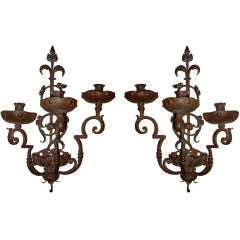 Pair of Italian Baroque Wrought Iron Three-Light Sconces