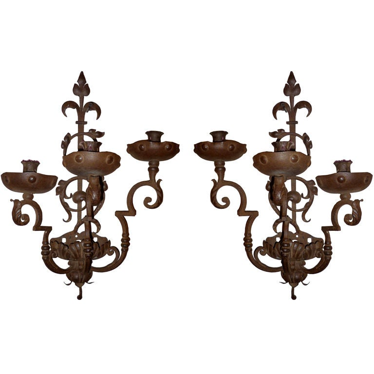 Pair of Italian Baroque Wrought Iron Three-Light Sconces