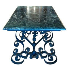 Mid-Century French Wrought Iron Marble-Top Table