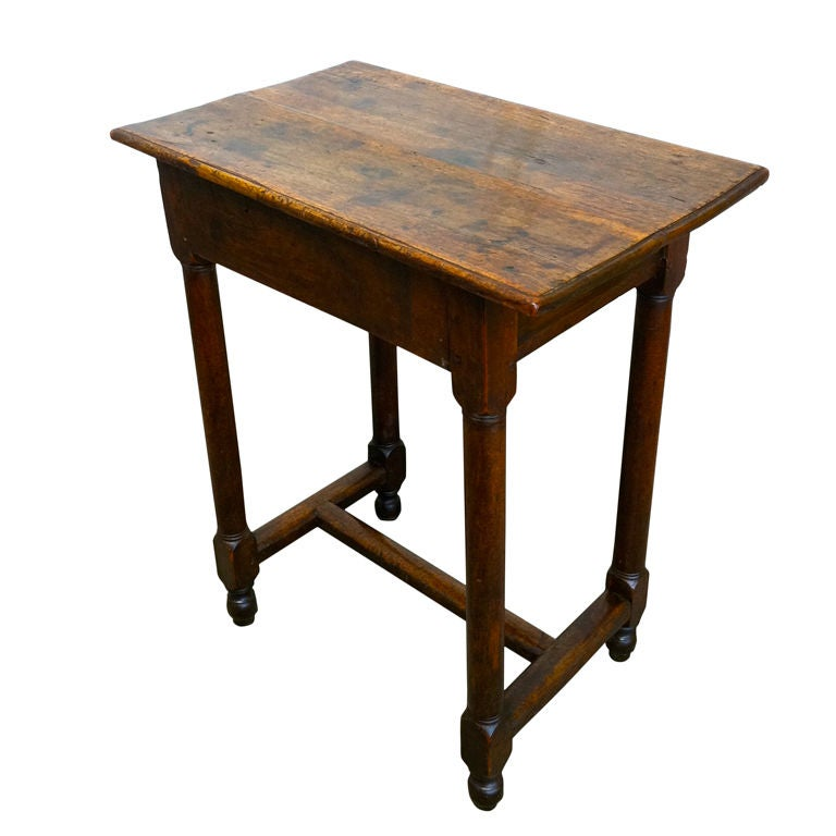 Italian Baroque Walnut Side Table with Single Drawer
