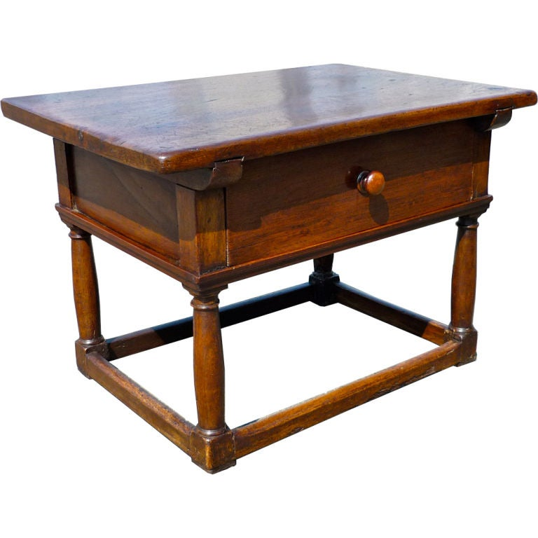 Italian Baroque Walnut Side Table 1