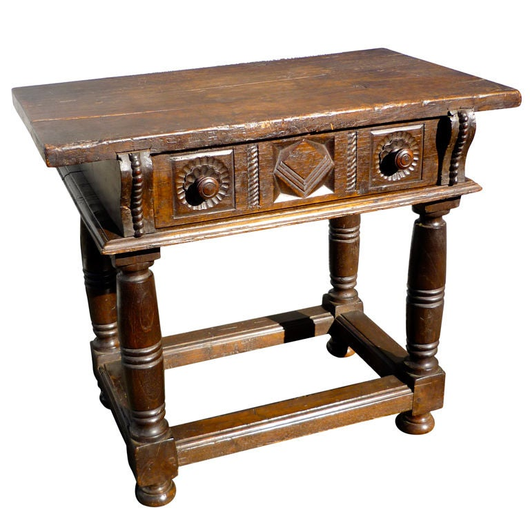 Spanish baroque walnut side table for sale at 1stdibs for Spanish baroque furniture