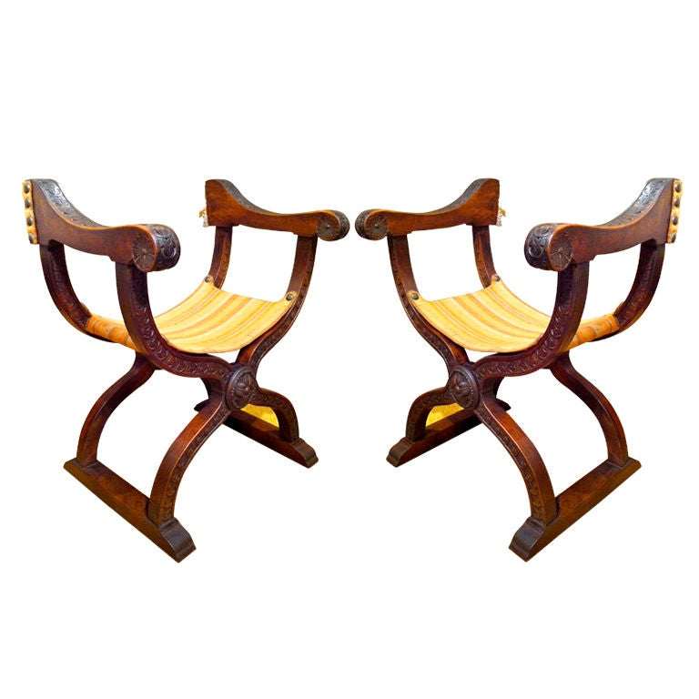 Pair Italian Dantesque Chairs At 1stdibs