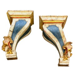 Pair of Large Scale 19th Century Portuguese Baroque Wall Brackets