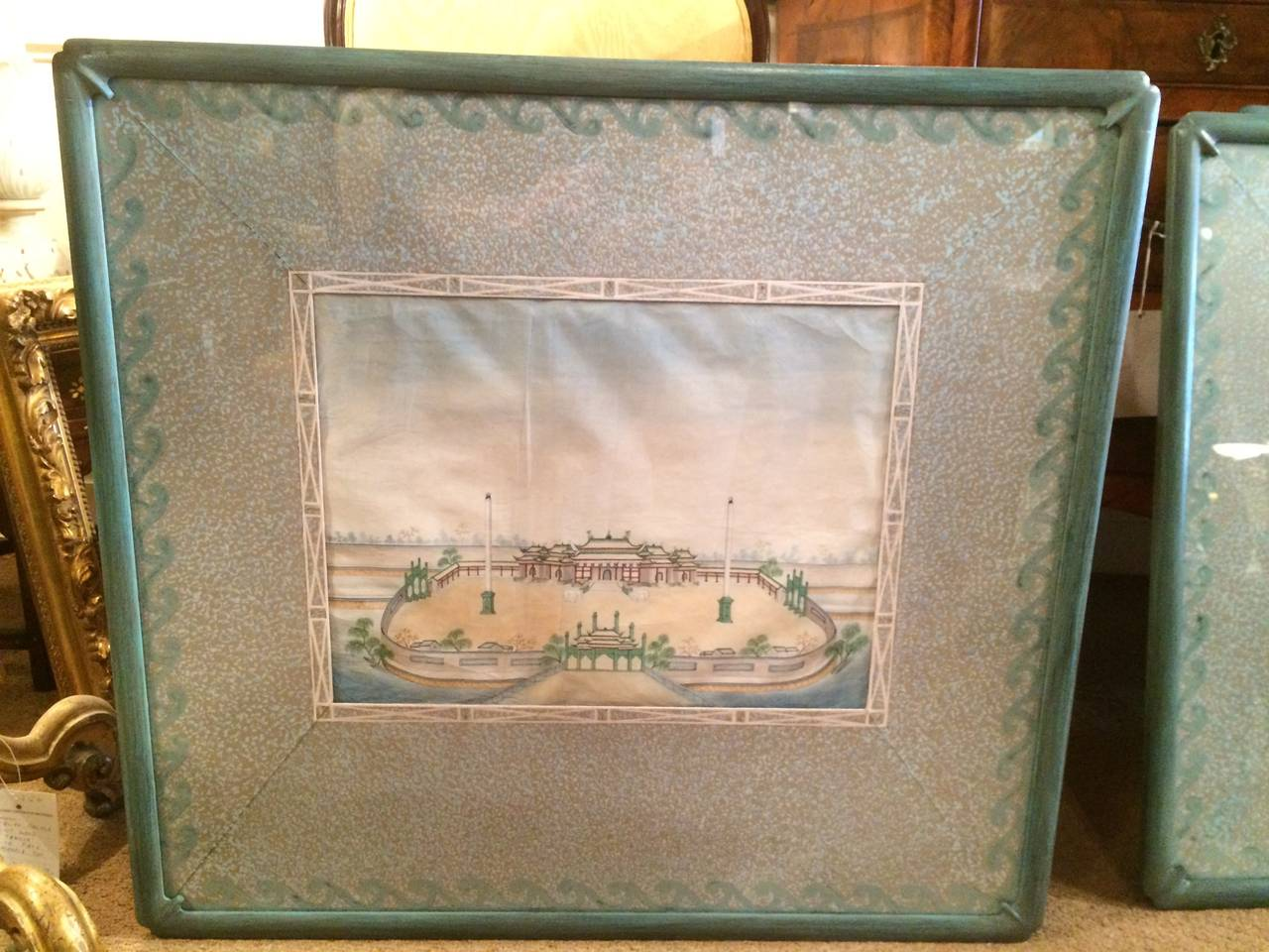 chinese export watercolors in mid century frames 2 - Mid Century Picture Frames