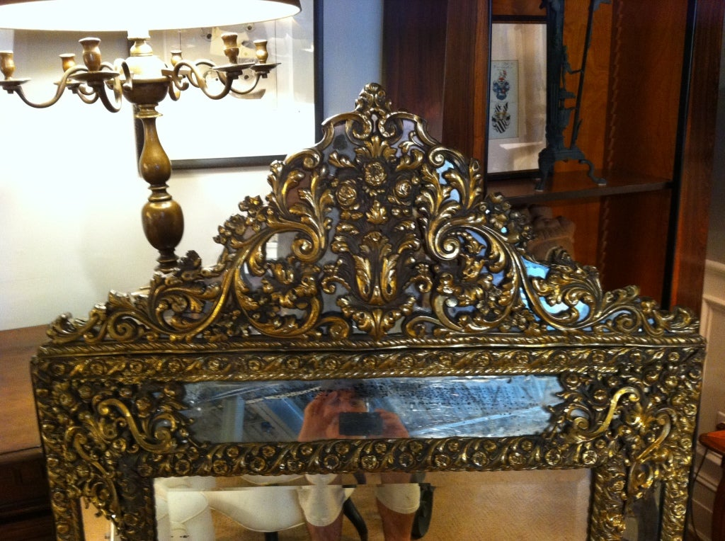 Dutch baroque style brass repousse mirror for sale at 1stdibs for Dutch baroque architecture