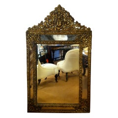 Dutch Baroque Style Brass Repousse Mirror