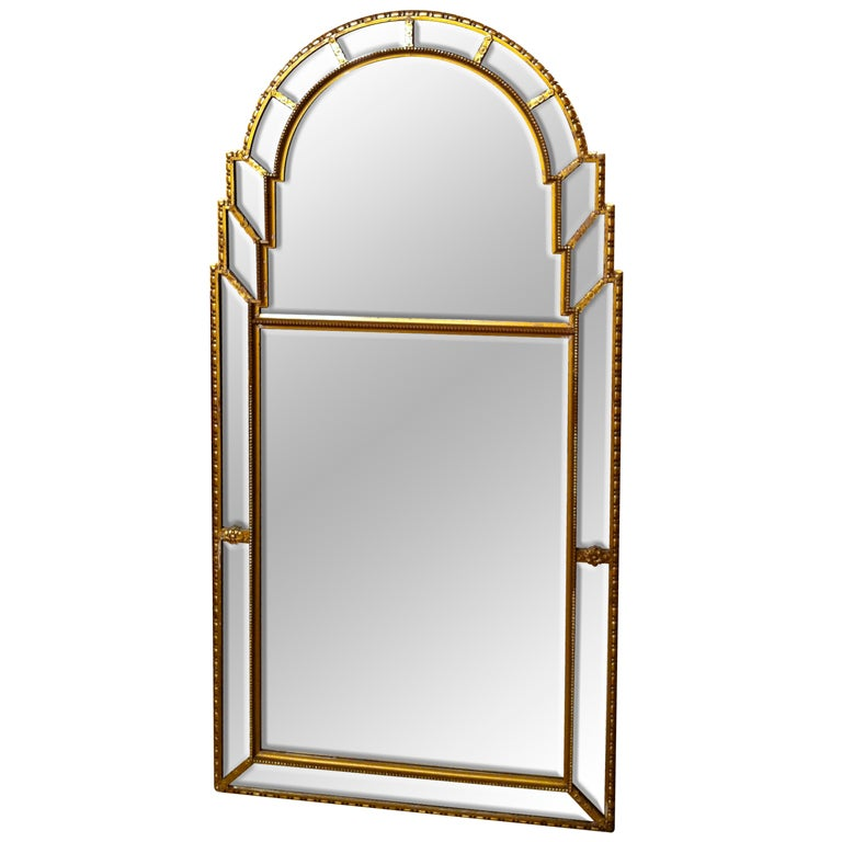 italian gilt wood beveled glass mirror