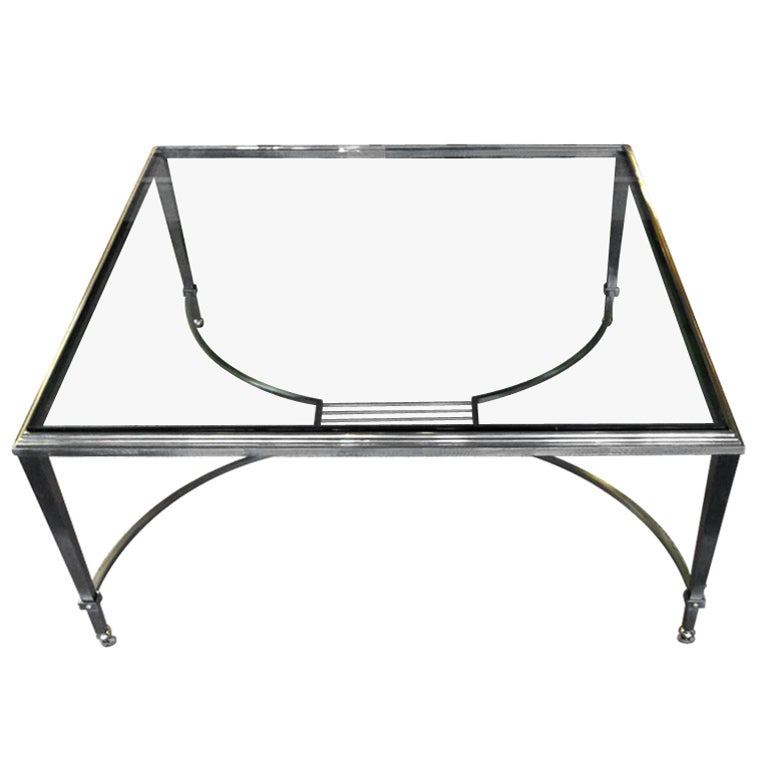 Artimeta Attributed Square Metal And Glass Coffee Table At: MAISON JANSEN Steel, Bronze Coffee Table With Beveled