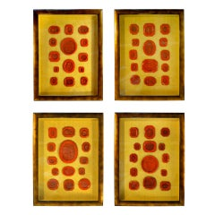 Italian Neoclassical Red Wax Intaglios- Set Of Four Framed
