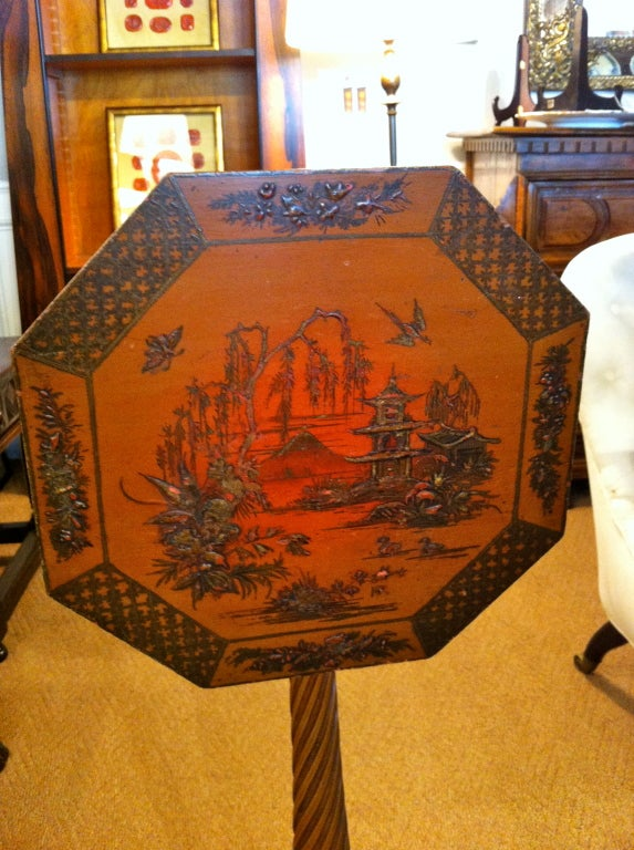 Pair of Red Lacquer Chinoiserie Candle Stands In Excellent Condition For Sale In Stamford, CT