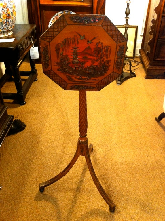 Pair of Red Lacquer Chinoiserie Candle Stands For Sale 3