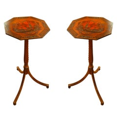 Pair of Red Lacquer Chinoiserie Candle Stands