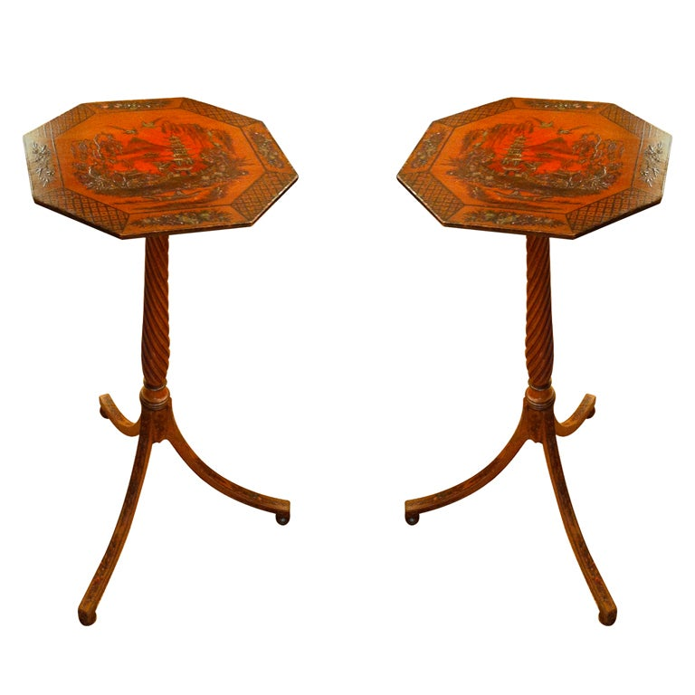 Pair of Red Lacquer Chinoiserie Candle Stands For Sale