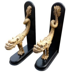 Pair of Carved Giltwood Dragons
