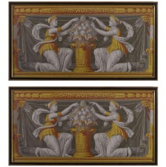 French Neoclassical Wallpaper Panel By Zuber- A Pair