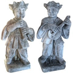 Pair French Chinoiserie Cast Stone Musicians