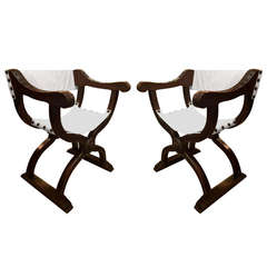 Pair of Italian Renaissance Walnut Curule Chairs