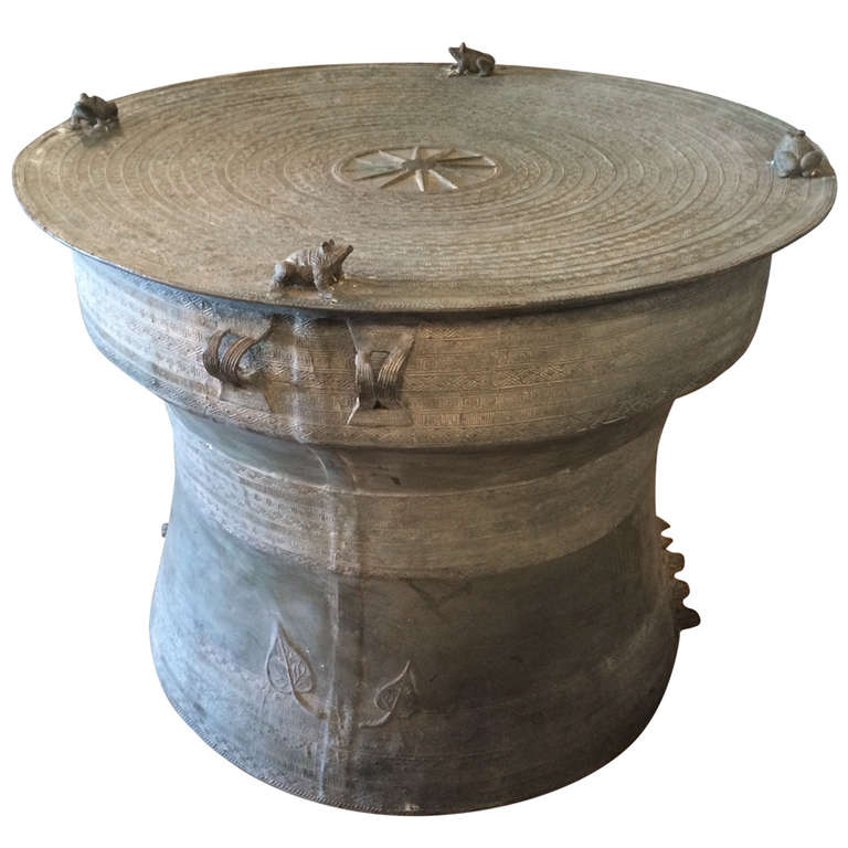 Bronze Rain Drum Side Table For