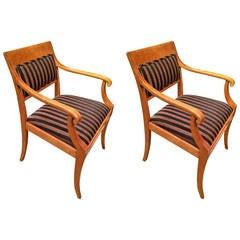 Pair of Biedermeier Neoclassical Armchairs