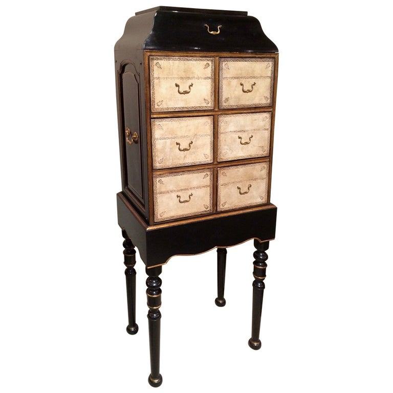 French Black Lacquer and Gilt Chest on Stand with Leather Drawers For Sale