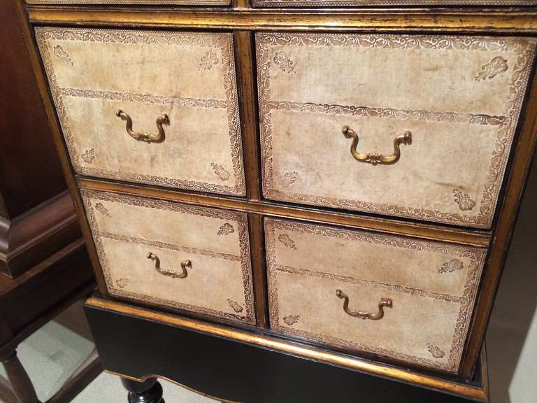 French Black Lacquer and Gilt Chest on Stand with Leather Drawers In Good Condition For Sale In Stamford, CT