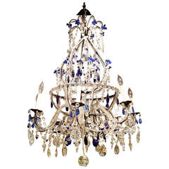 Venetian Murano Crystal and Cobalt Blue Chandelier