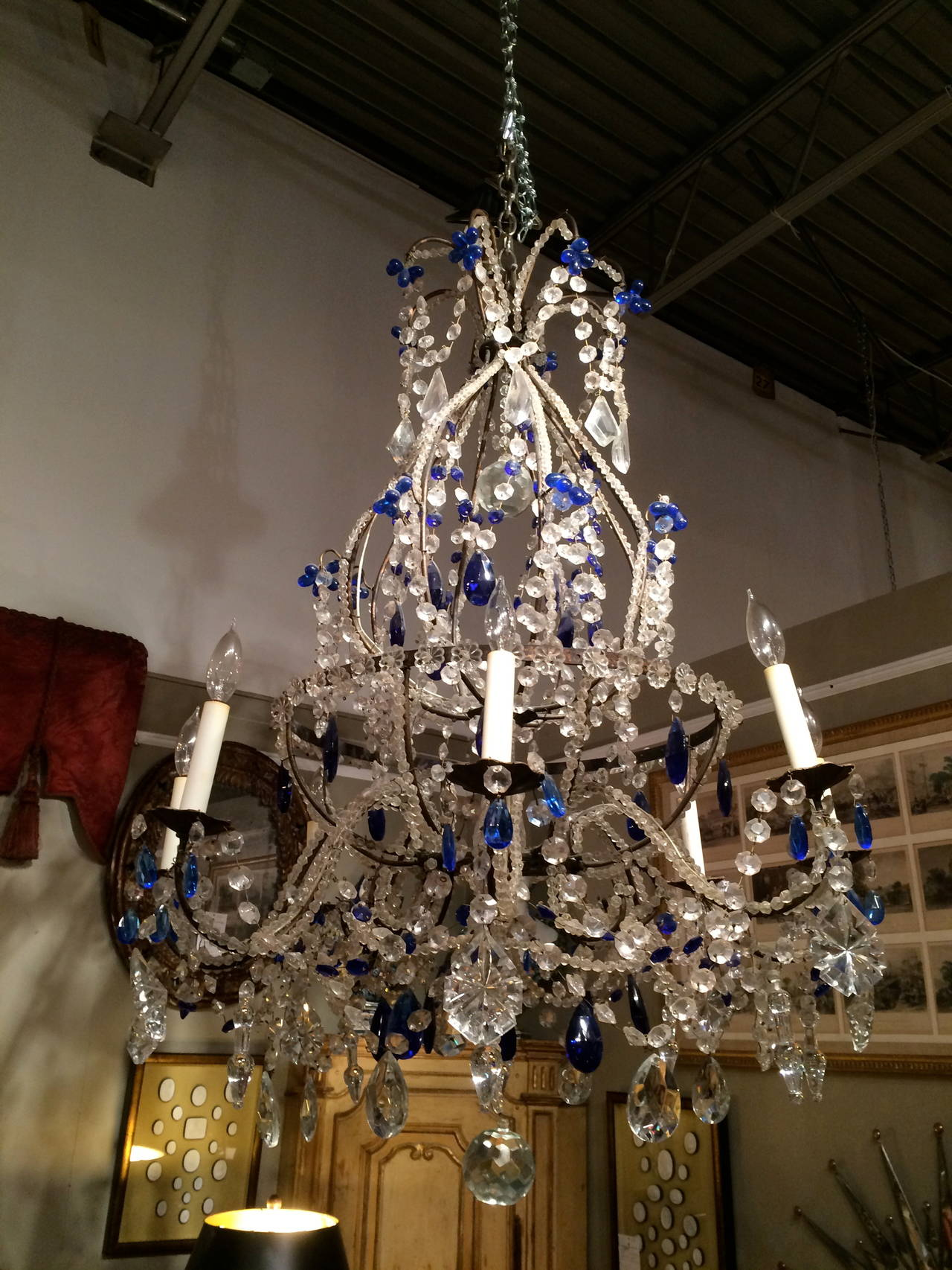 Venetian murano crystal and cobalt blue chandelier for sale at 1stdibs stunning italian rococo style cobalt blue beaded and cut glass eight light chandelier aloadofball Images