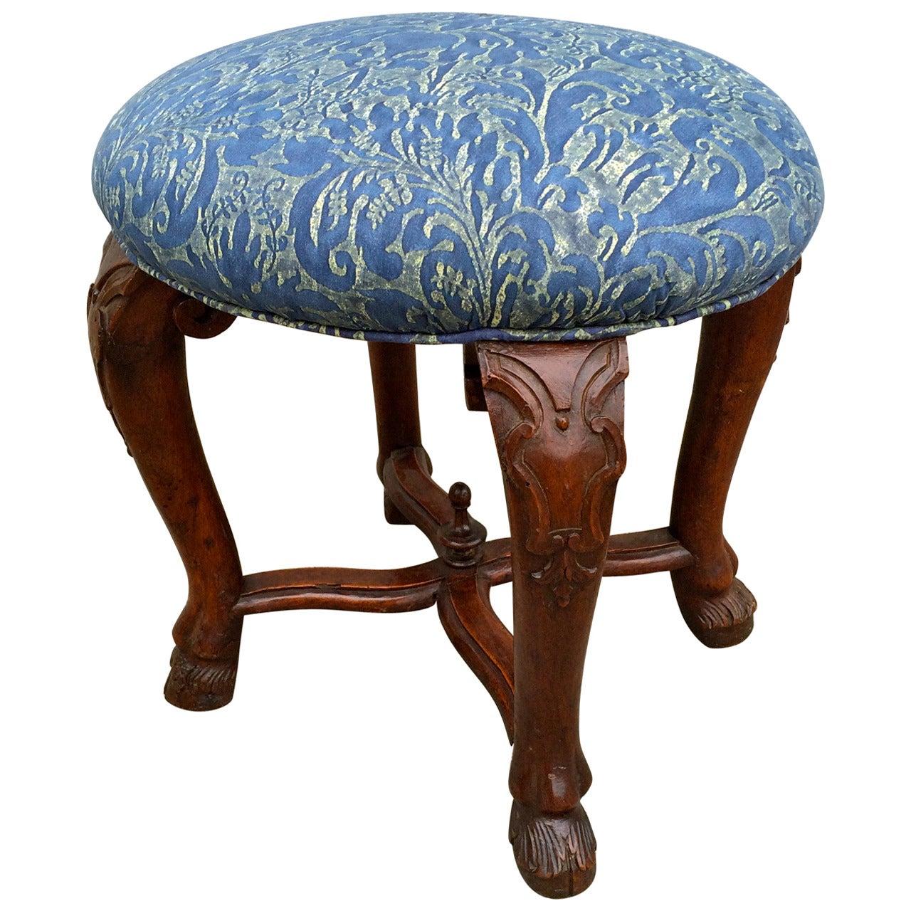 Italian Baroque Walnut Stool with Fortuny Upholstery