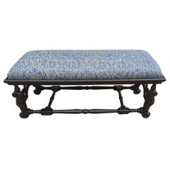 English William and Mary Walnut Bench with Fortuny Fabric