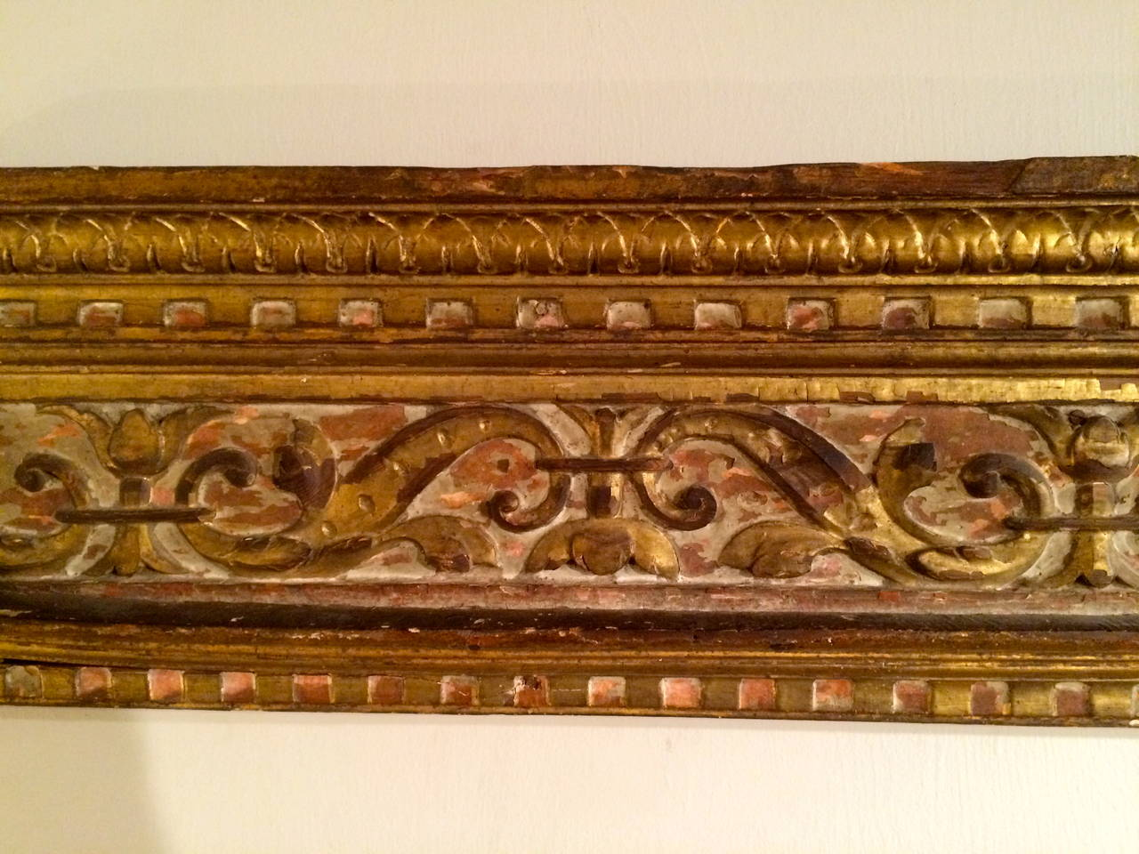 Baroque 18th Century Italian Giltwood Architectural Carving For Sale