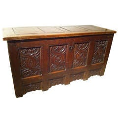 Northern European Carved Oak Gothic Chest, Large-Scale