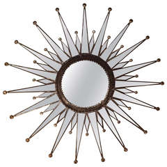 Zinc Starburst Mirror, 33 inches Diameter