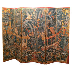 Rococo Style Six-Panel Hand-Painted Screen