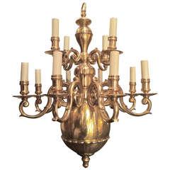 Dutch Baroque Style Brass Twelve-Arm Chandelier
