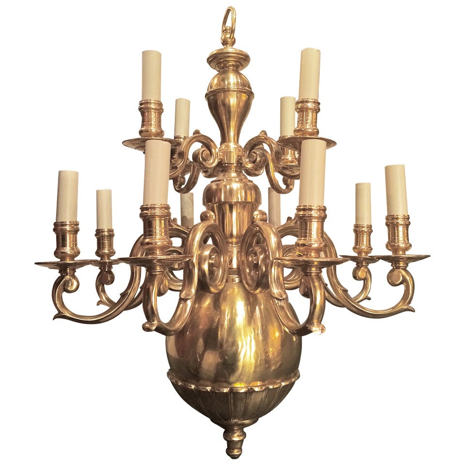 Dutch Baroque Style Brass Twelve-Arm Chandelier