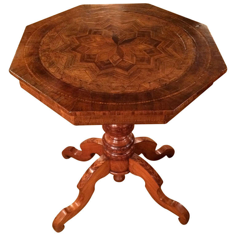 Italian octagonal marquetry table for sale at stdibs