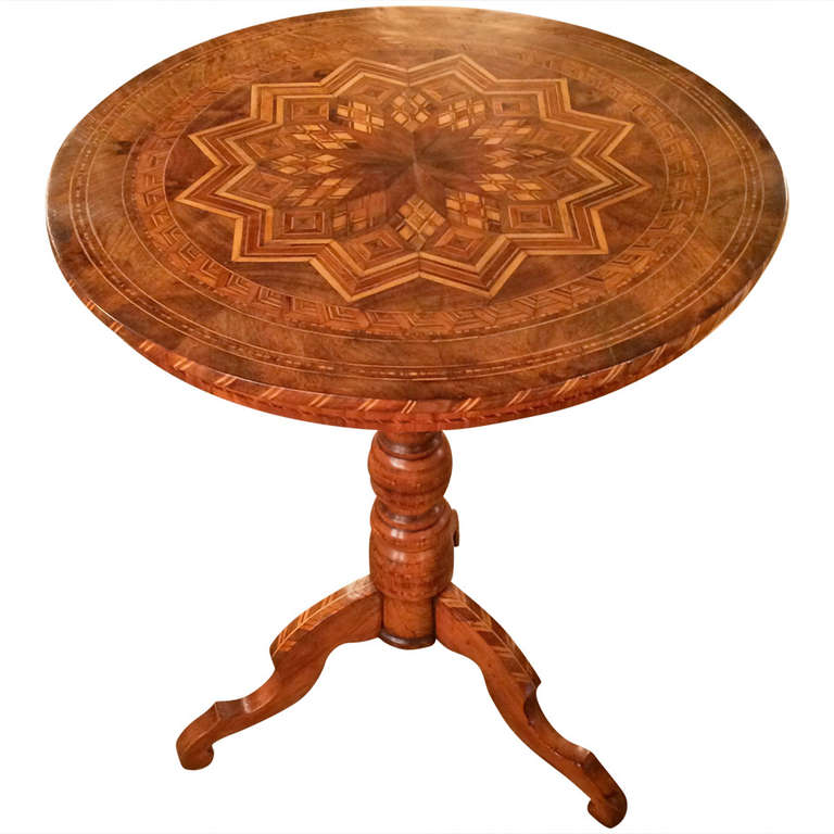 Italian Marquetry Round Side Table from Sorrento For Sale