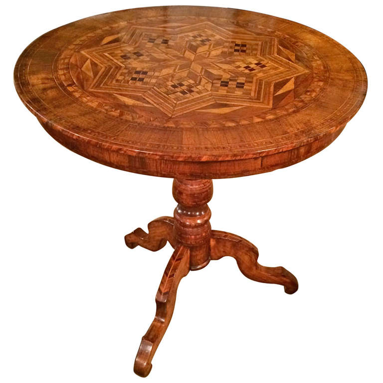 Italian Marquetry Tilt Top Table For Sale