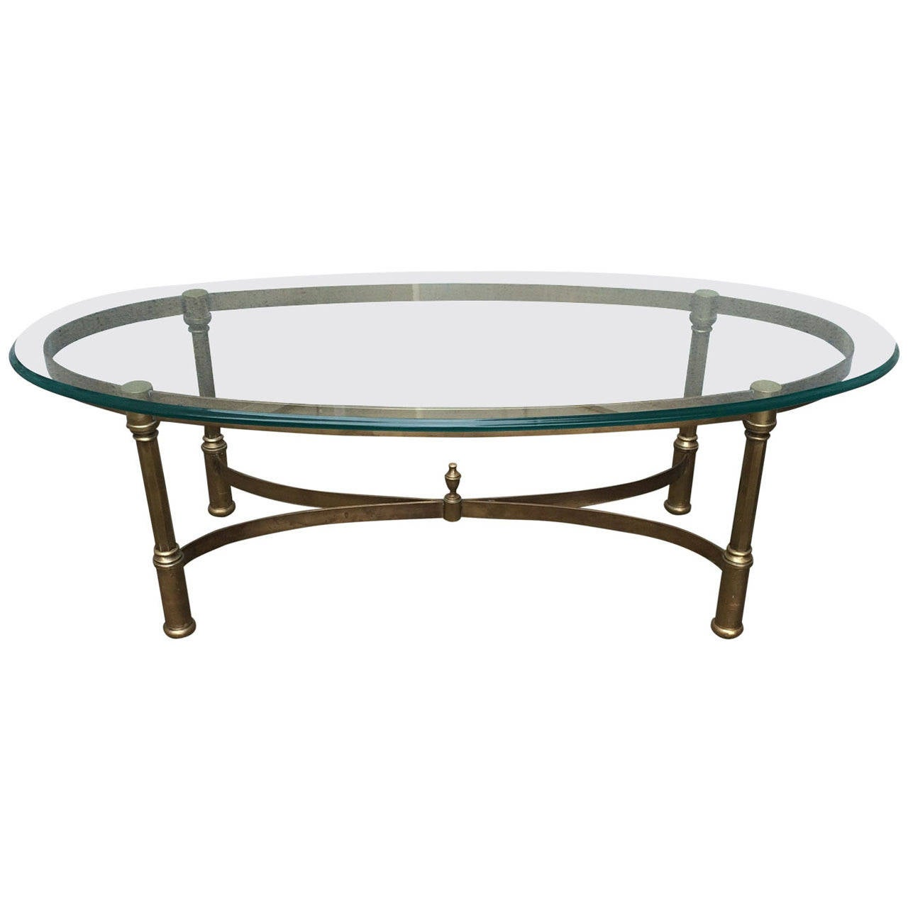 Neoclassical Brass And Glass Coffee Table At 1stdibs