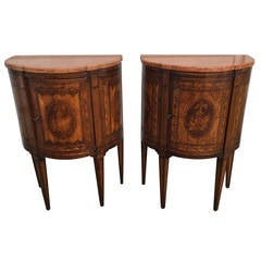 Pair of Italian Inlaid Neoclassical Night Stands