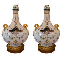Pair of Italian Ginori Lamps
