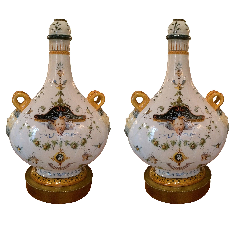 Pair of Italian Majolica Glazed Ceramic Ginori Lamps