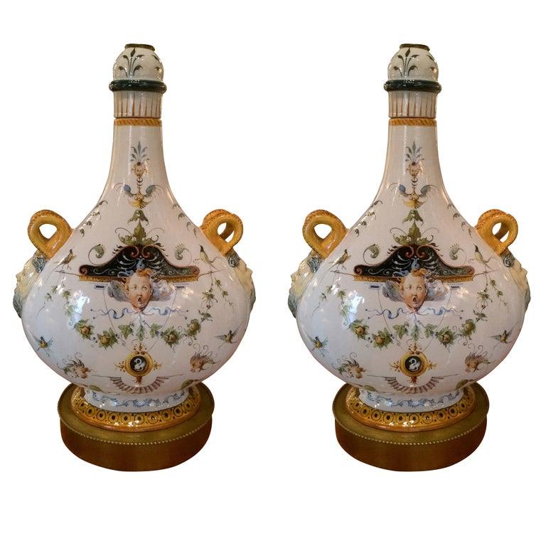 Pair of Italian Majolica Glazed Ceramic Ginori Lamps For Sale