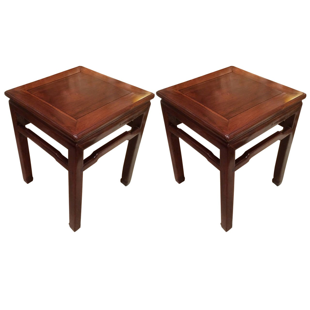 Pair of Chinese Hard Wood Side Tables 1