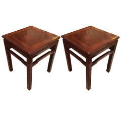 Pair of Chinese Hard Wood Side Tables